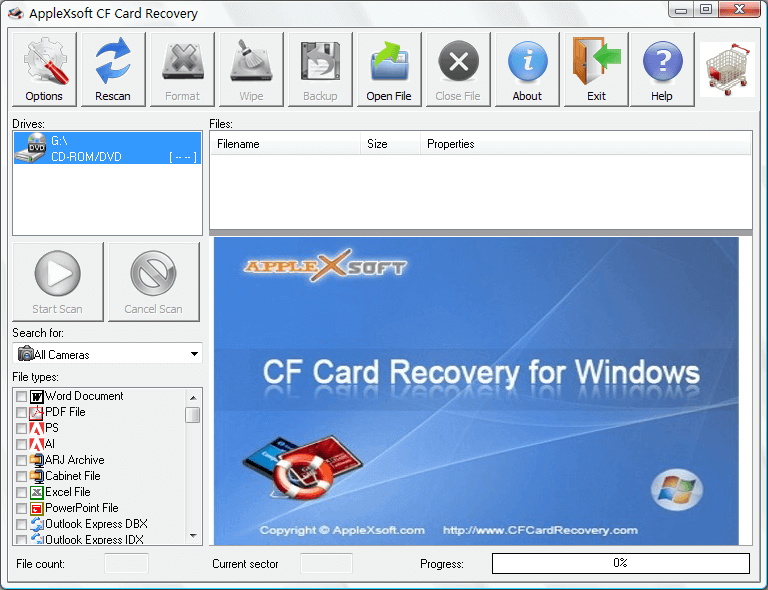 Click to view Compact Flash Card Recovery 3.0.5 screenshot