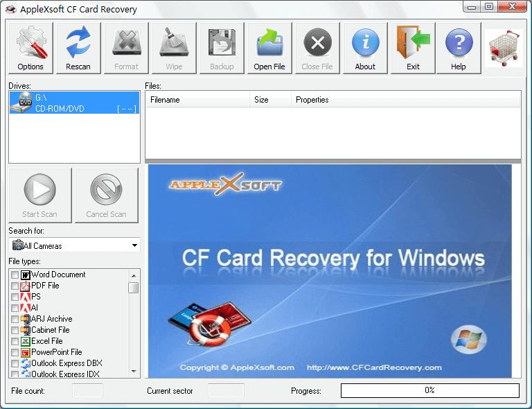 Compact Flash Card Recovery full screenshot