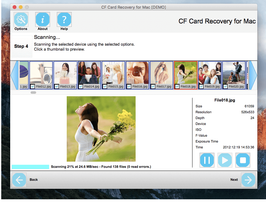 CF Card Recovery for Mac Screen shot